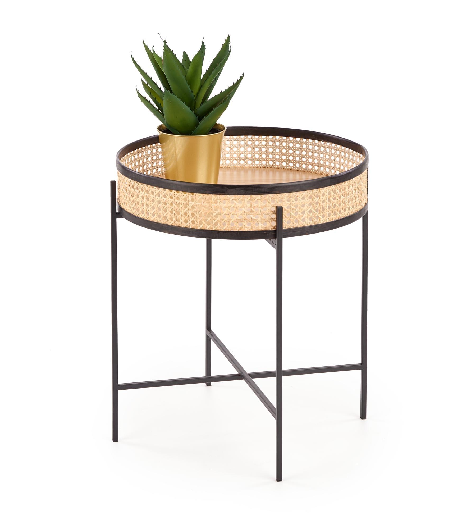 Masa de cafea din ratan si metal Lanipa Natural / Negru, Ø50xH55 cm poza