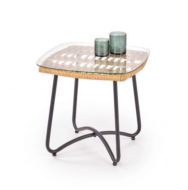 Masa de cafea din ratan, sticla si metal Indira Natural, L51xl51xH48 cm imagine