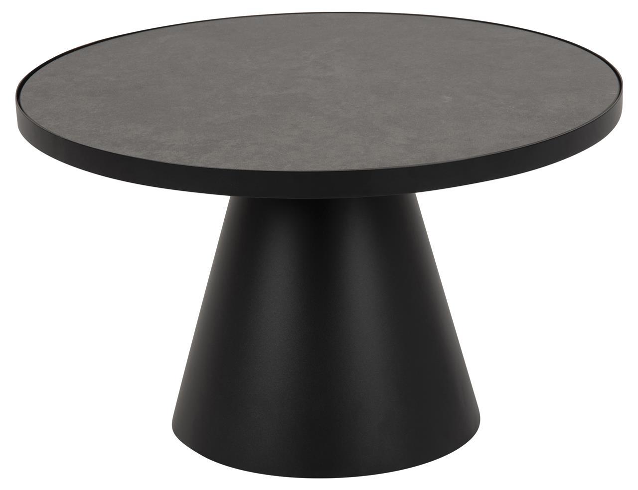 Masa de cafea din sticla, ceramica si metal Soli Negru, Ø65,7xH40 cm