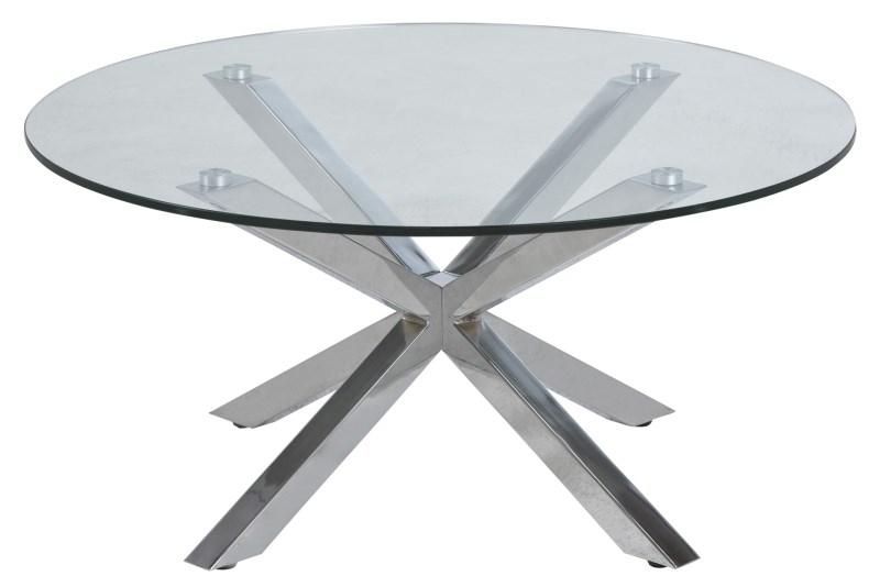 Masa de cafea din sticla Heaven Crom, Ø82xH40 cm