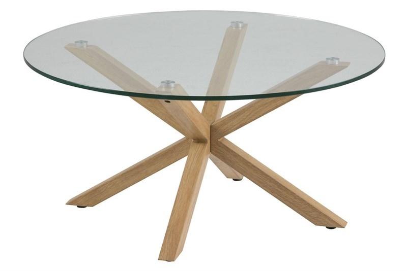 Masa de cafea, din metal si sticla Heaven Oak, Ø82xH40 cm imagine