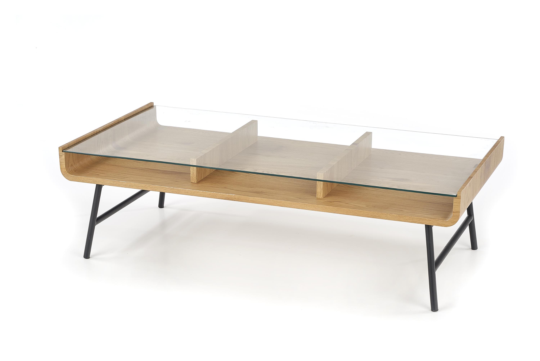 Masa de cafea din sticla MDF si metal Amarante Golden Oak / Black L120xl60xH36 cm