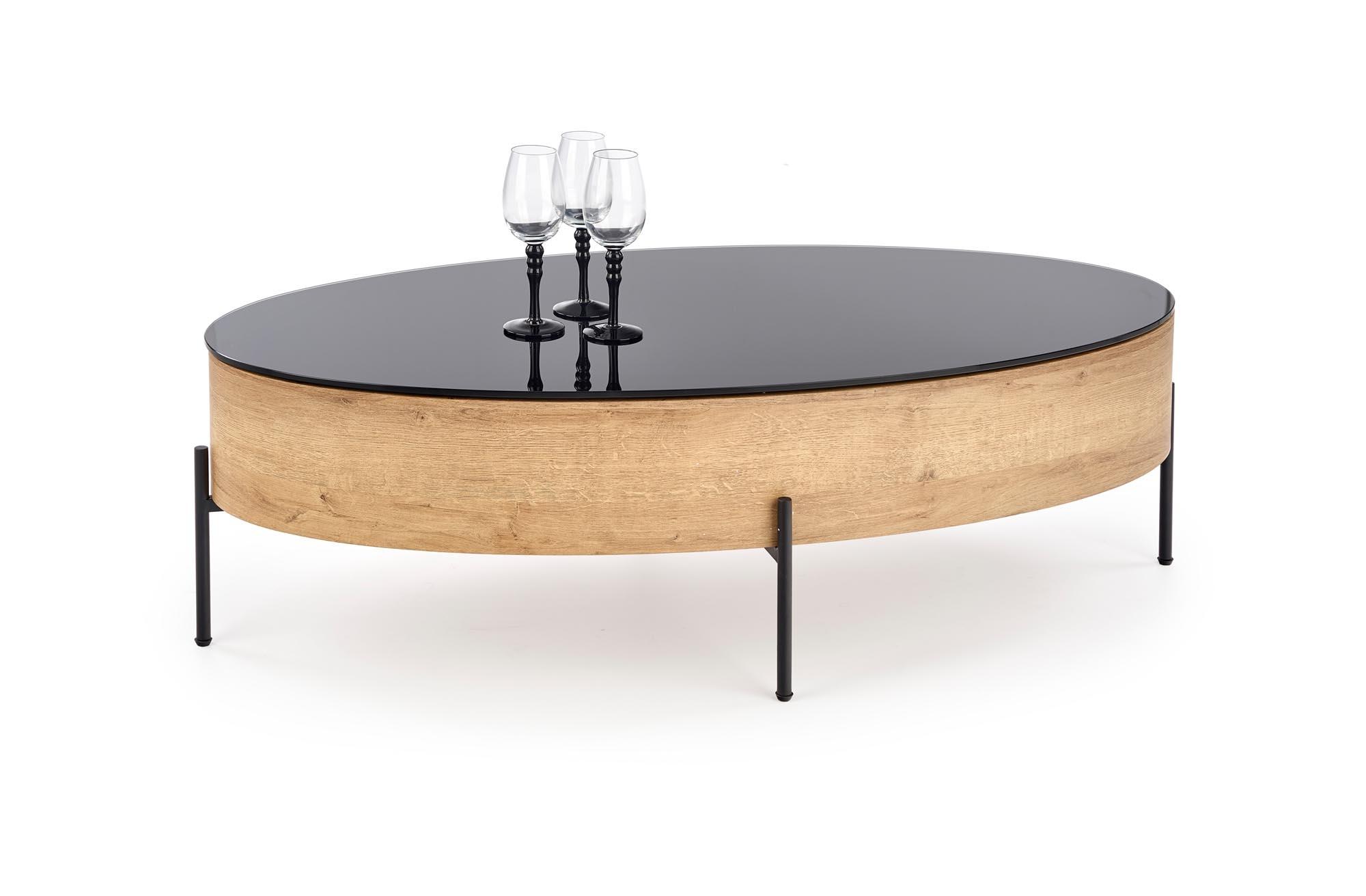 Masa de cafea din sticla, MDF si metal, cu spatiu de depozitare Zenga Stejar / Negru, L120xl60xH37 cm