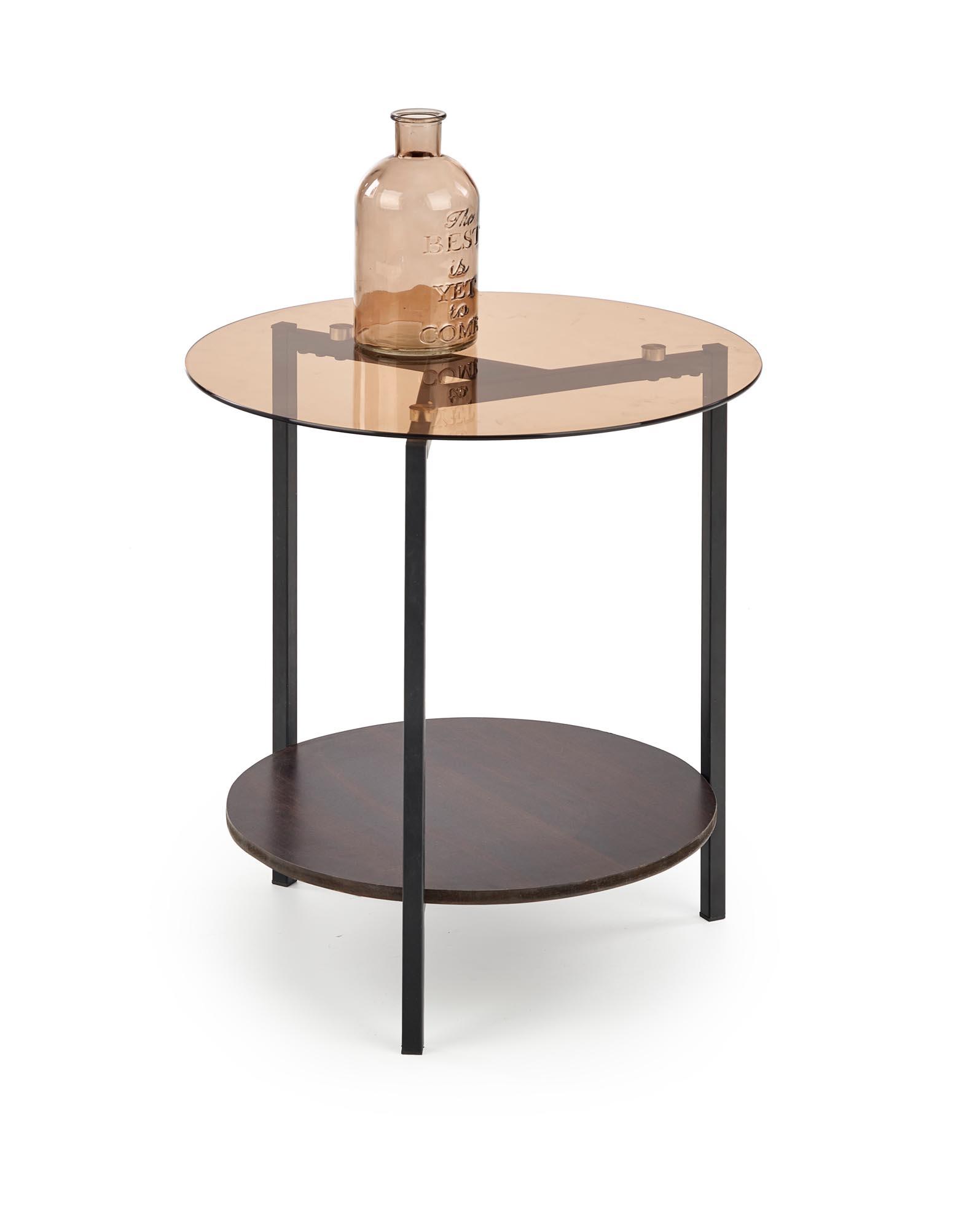 Masa de cafea din sticla, MDF si metal Girona Nuc / Negru, Ø47xH51 cm imagine