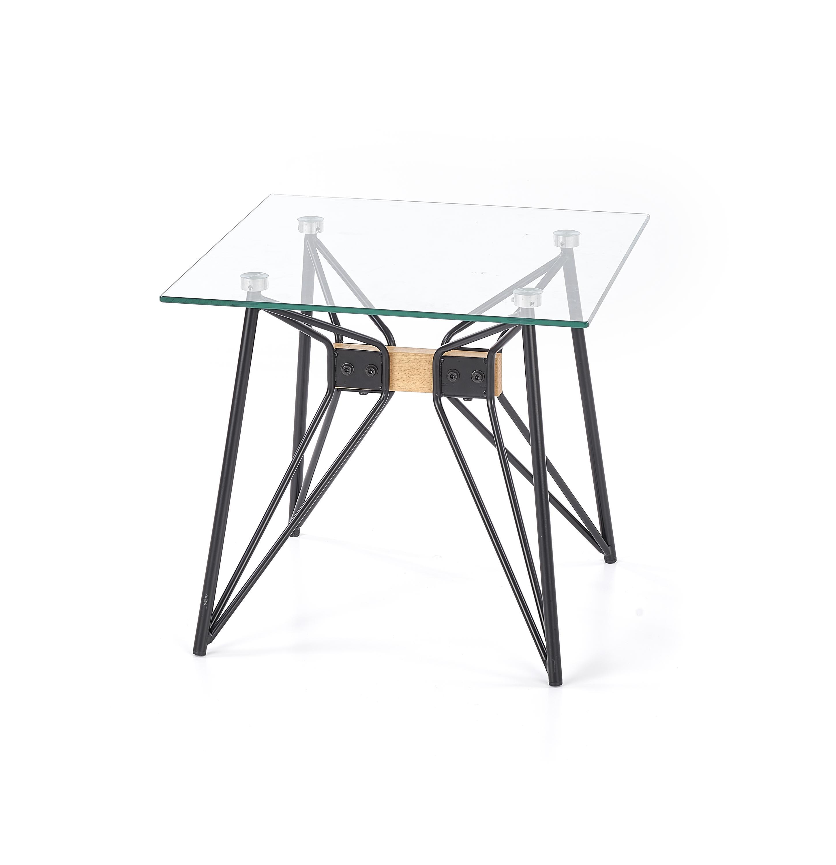 Masa de cafea din sticla si metal Allegra Square Transparent / Black, L50xl50xH45 cm imagine