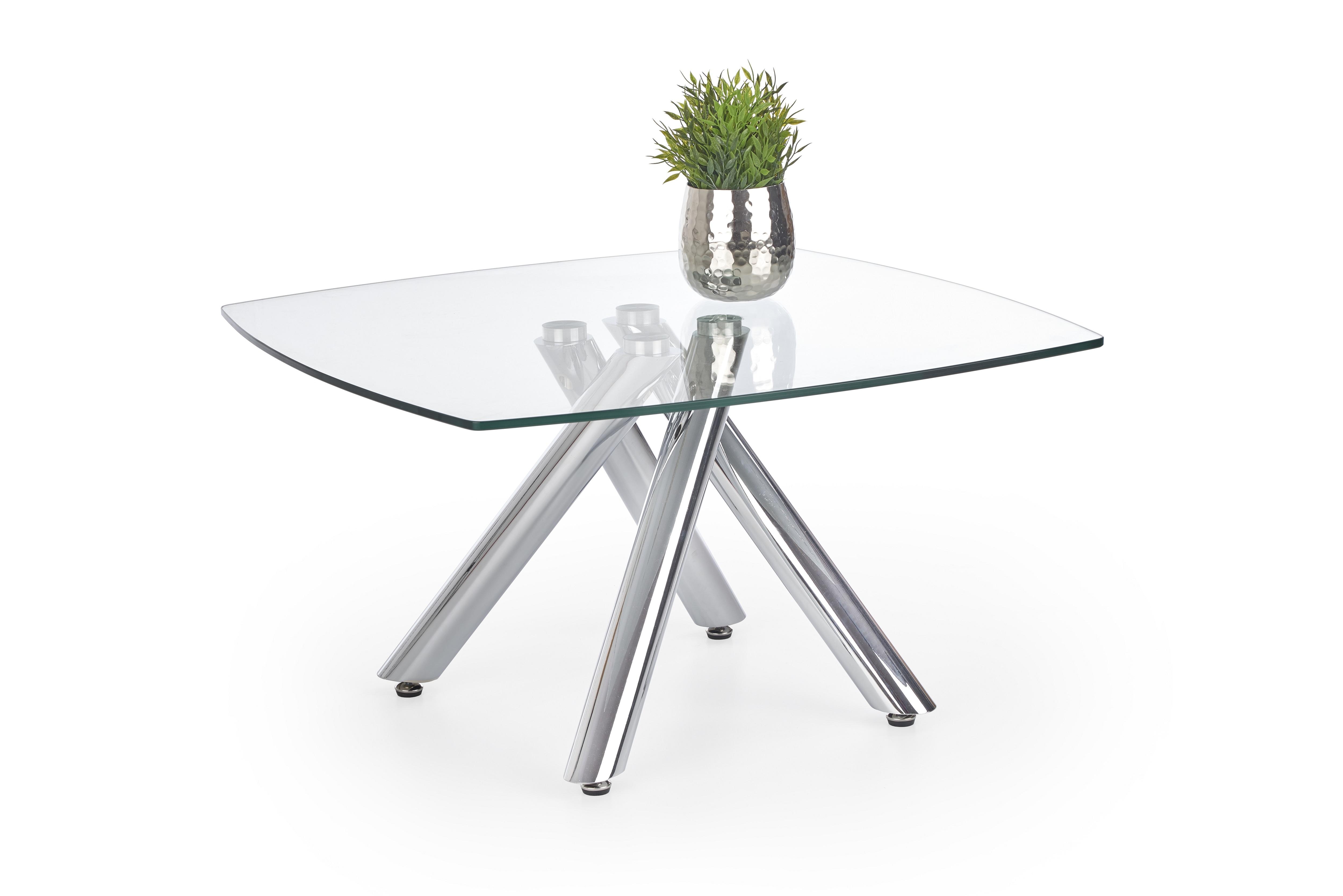 Masa de cafea din sticla si metal Almera, L80xl80xh45 cm imagine