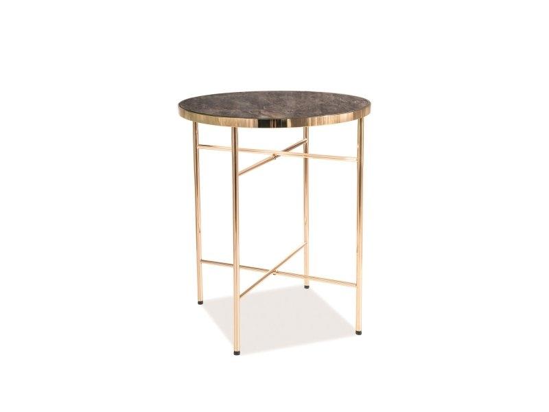 Masa de cafea din sticla si metal Alvera C Marmura / Auriu, Ø42xH51 cm imagine
