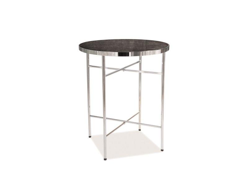 Masa de cafea din sticla si metal Alvera C Marmura / Crom, Ø42xH51 cm imagine