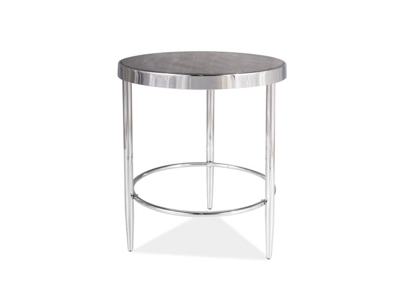 Masa de cafea din sticla si metal Aurora C Maro / Crom, Ø42xH48 cm