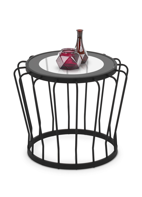 Masa de cafea din sticla si metal Aviva Black O56xH46 cm