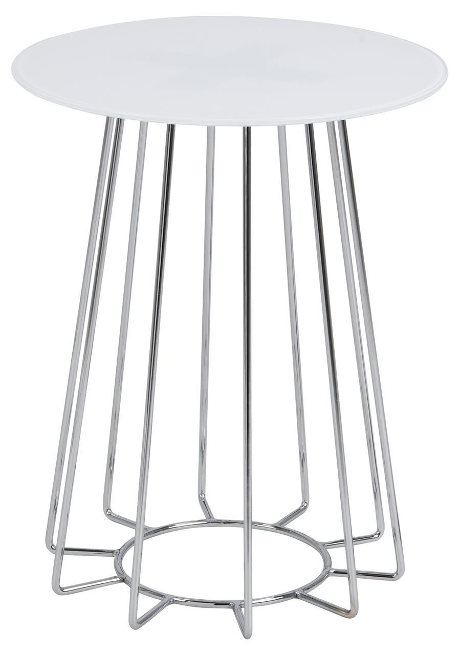 Masa de cafea din sticla si metal Casia Alb / Crom, Ø40xH50 cm somproduct.ro