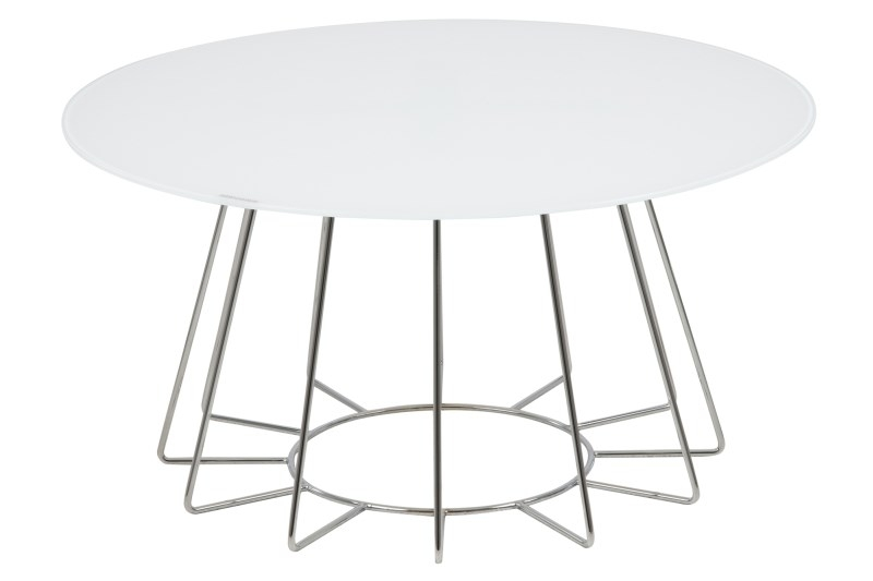 Masa de cafea din sticla si metal Casia Alb / Crom, Ø80xH40 cm poza