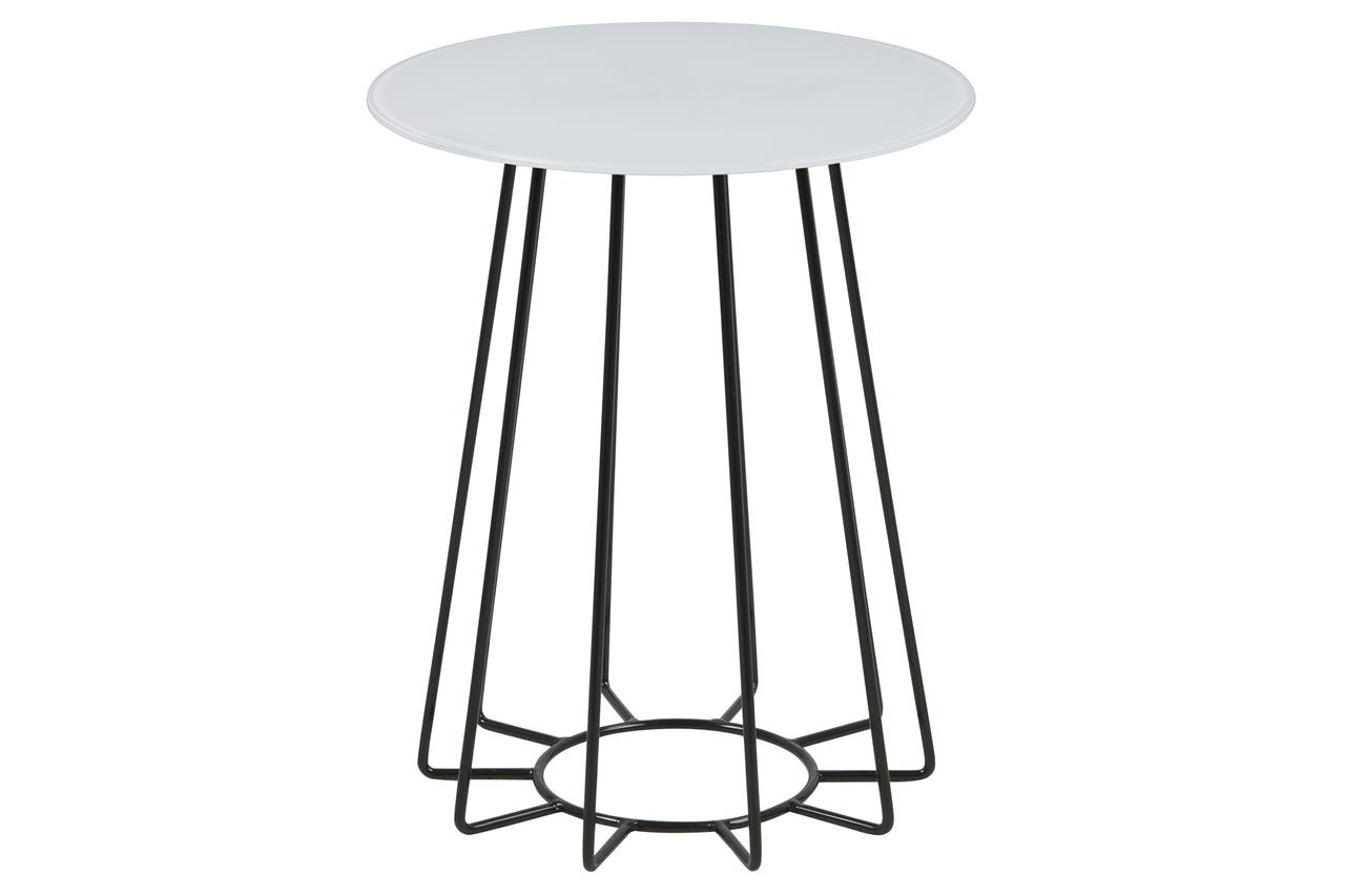 Masa de cafea din sticla si metal Casia Alb / Negru, Ø40xH50 cm