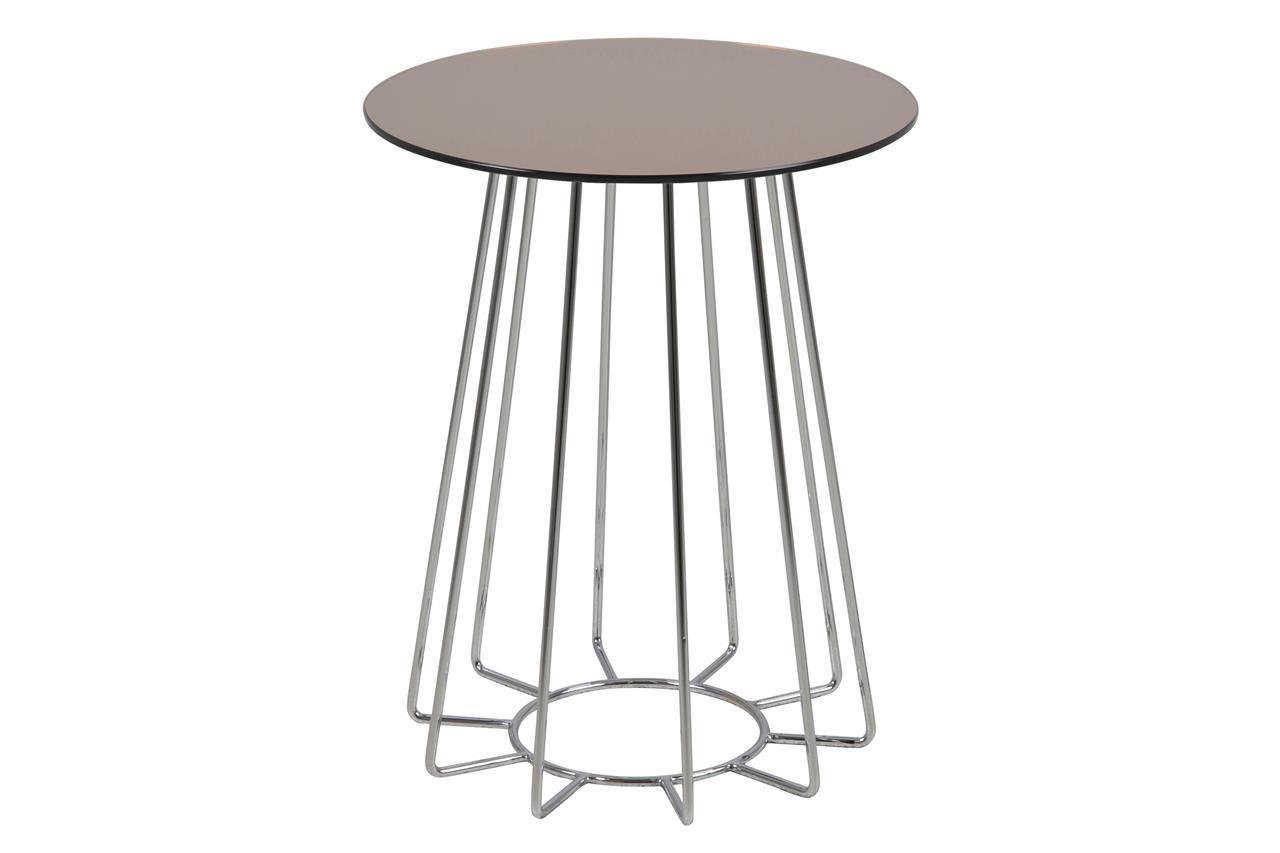 Masa de cafea din sticla si metal Casia Auriu / Crom, Ø40xH50 cm