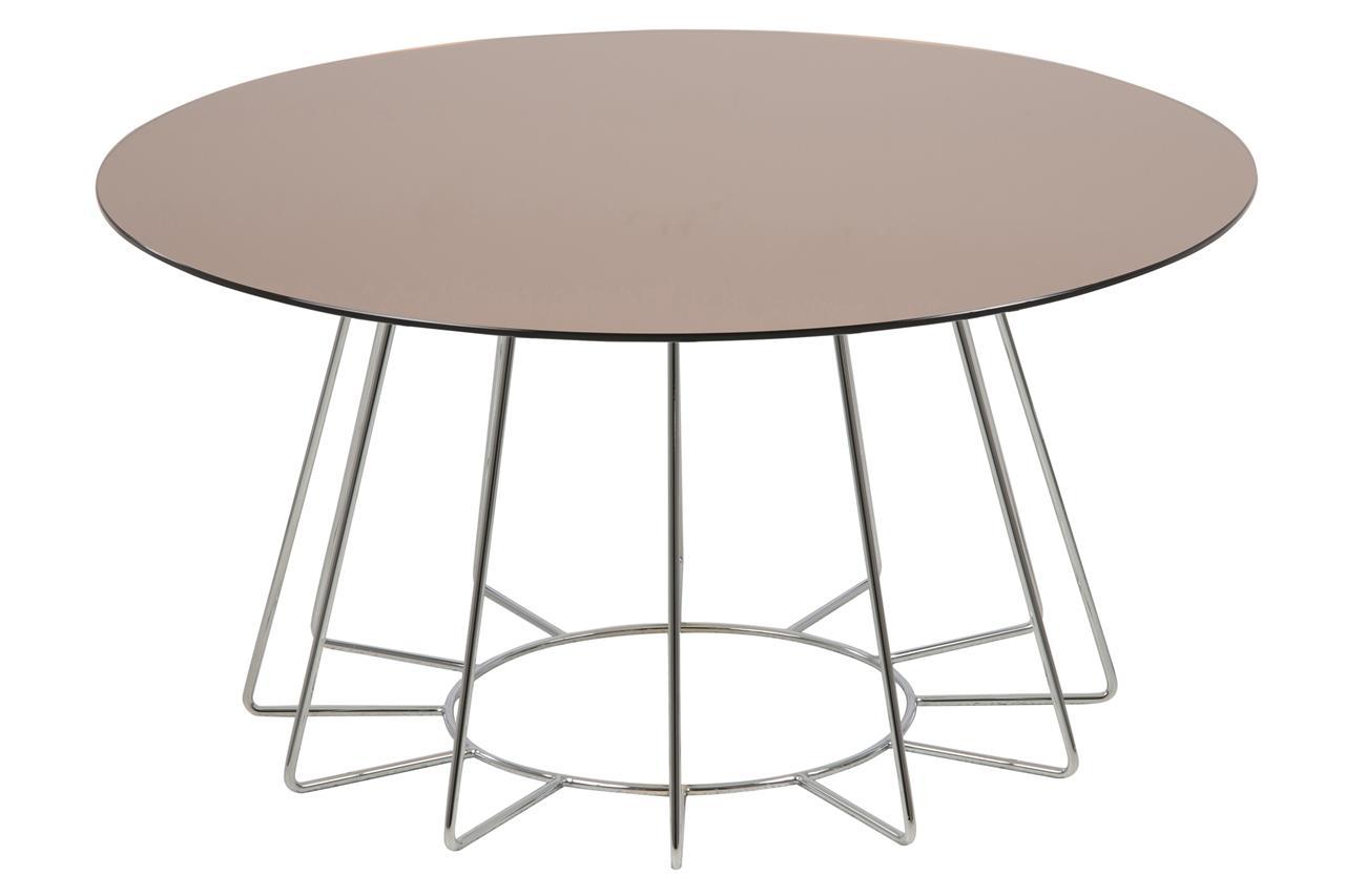 Masa de cafea din sticla si metal Casia Auriu / Crom, Ø80xH40 cm imagine