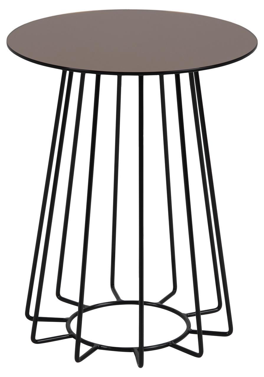 Masa de cafea din sticla si metal Casia Auriu / Negru, Ø40xH50 cm imagine