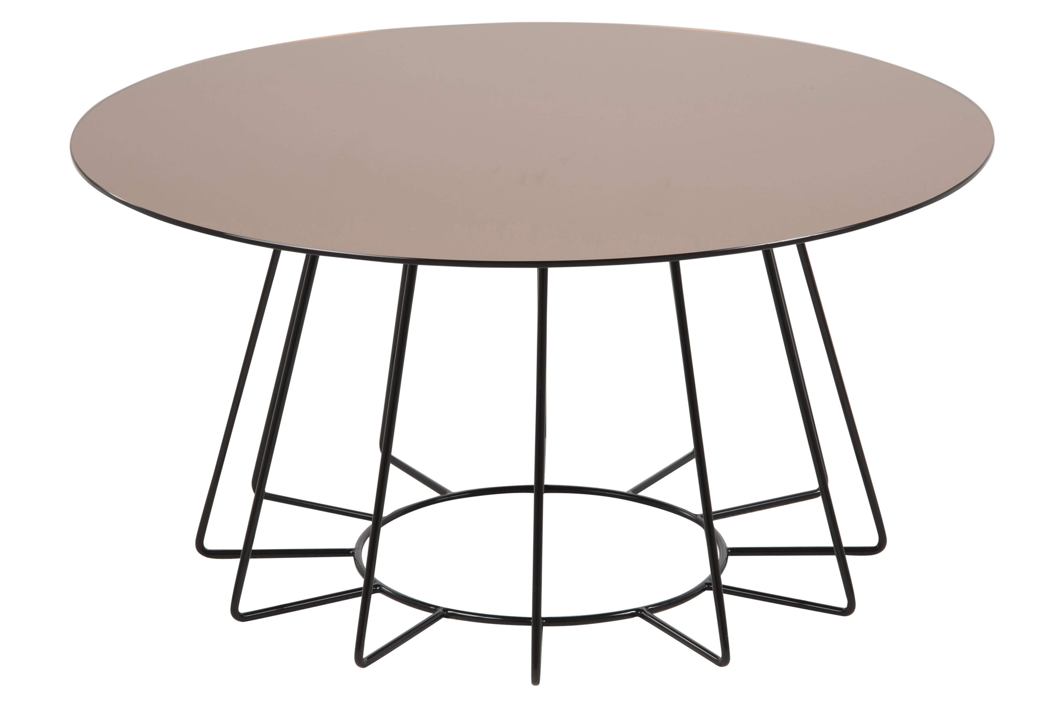 Masa de cafea din sticla si metal Casia Auriu / Negru, Ø80xH40 cm