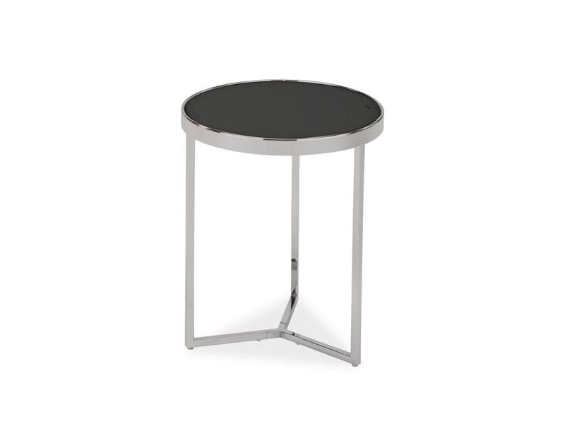 Masa de cafea din sticla si metal Delia I Negru / Crom, Ø43xH52 cm poza