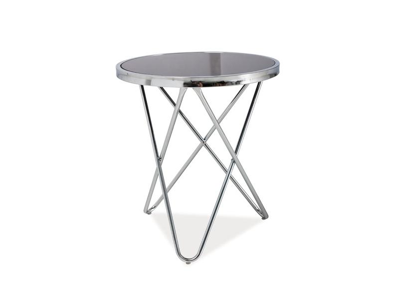 Masa de cafea din sticla si metal Fabia C Negru / Crom, Ø45xH50 cm