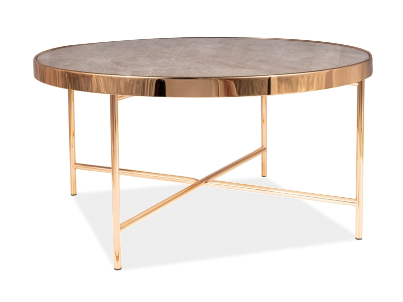 Masa de cafea din sticla si metal Fortuna B Maro / Auriu, Ø82xH40 cm