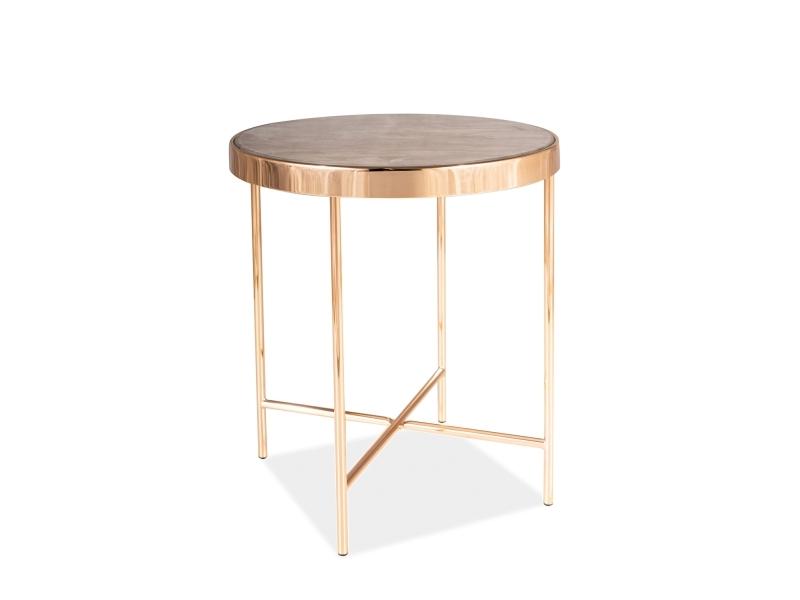 Masa de cafea din sticla si metal Fortuna C Maro / Auriu, Ø43xH46 cm imagine
