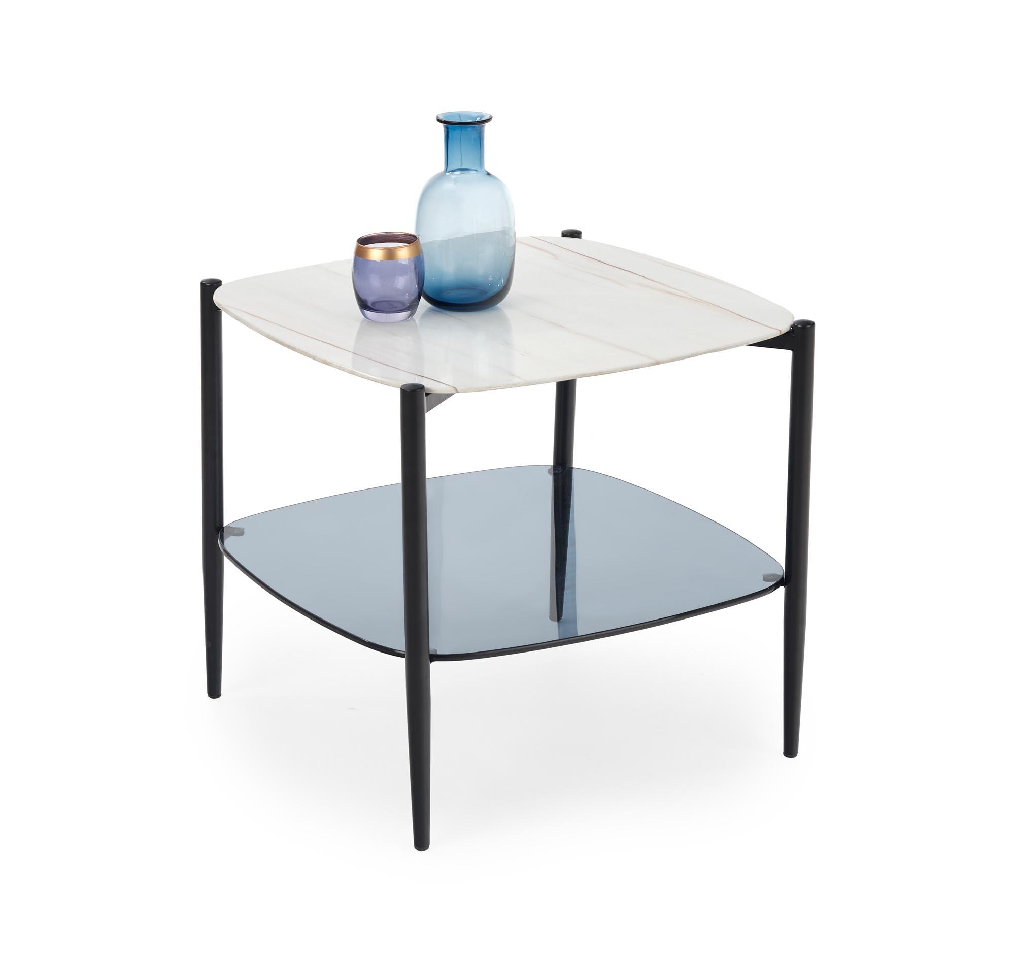 Masa de cafea din sticla si metal Gemini Alb / Negru, L55xl55xH50 cm imagine