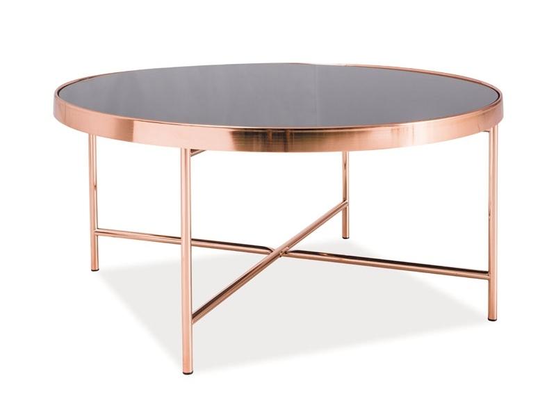Masa de cafea din sticla si metal Gina B Negru / Cupru, Ø82xH40 cm