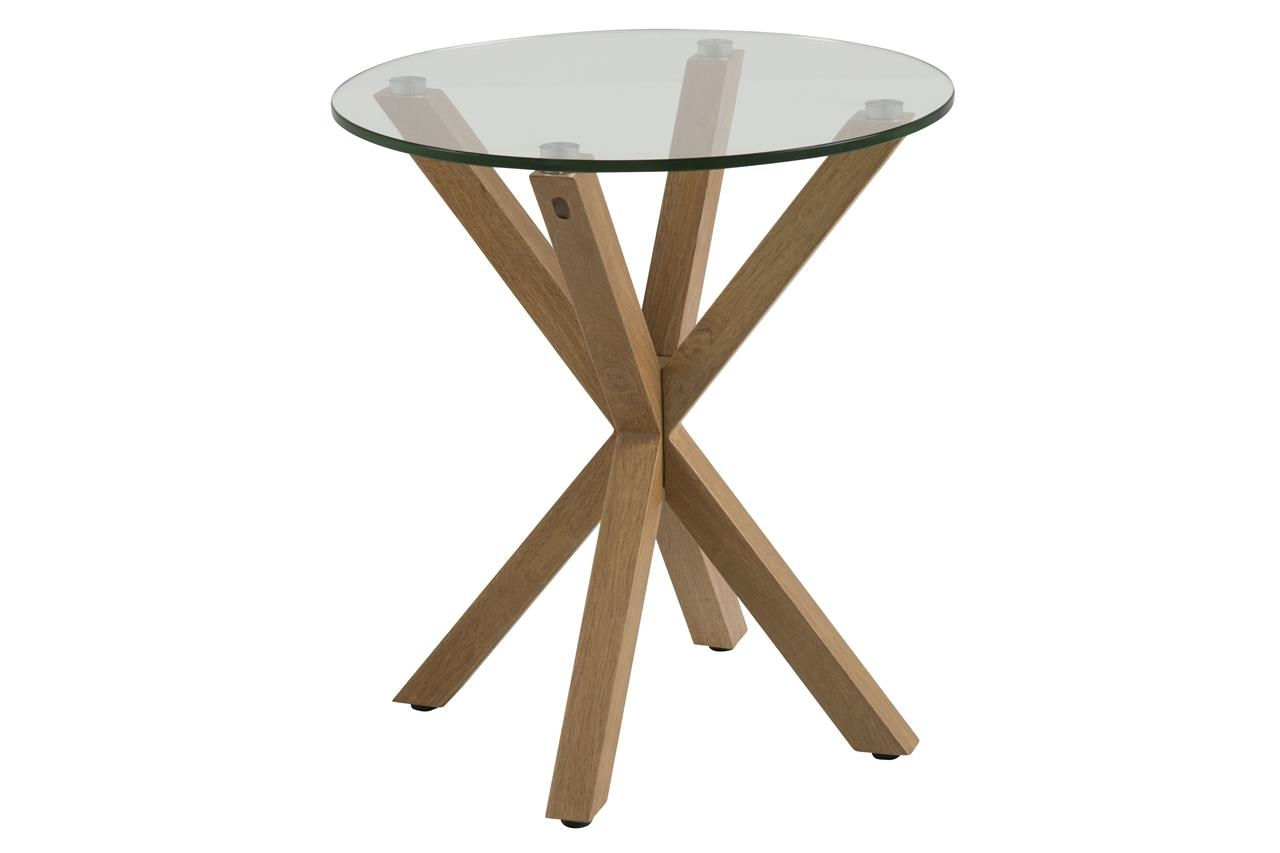 Masa de cafea din sticla si metal Heaven II Stejar, Ø50xH55 cm