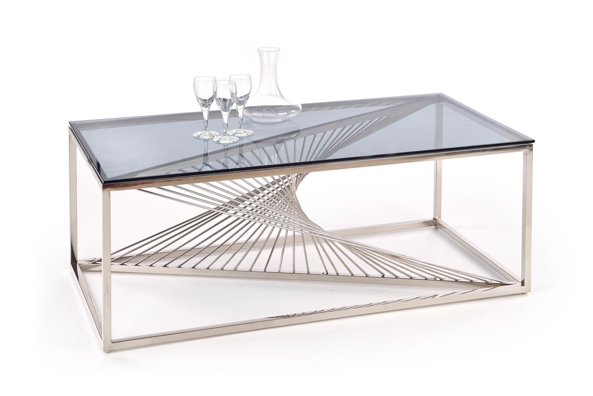 Masa de cafea din sticla si metal Infinity Rectangle Crom, L120xl60xH45 cm