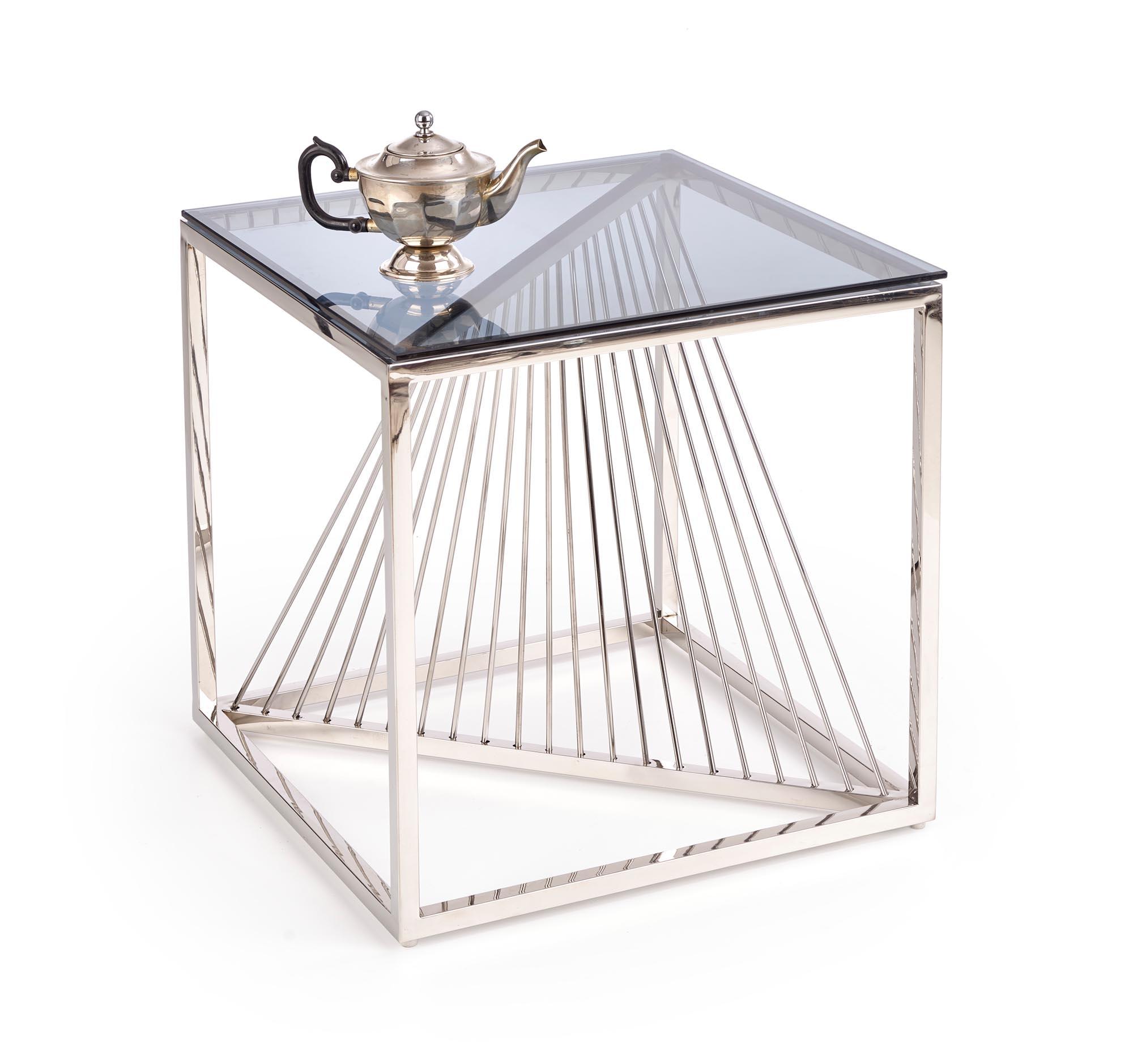 Masa de cafea din sticla si metal Infinity Square Crom, L55xl55xH55 cm imagine