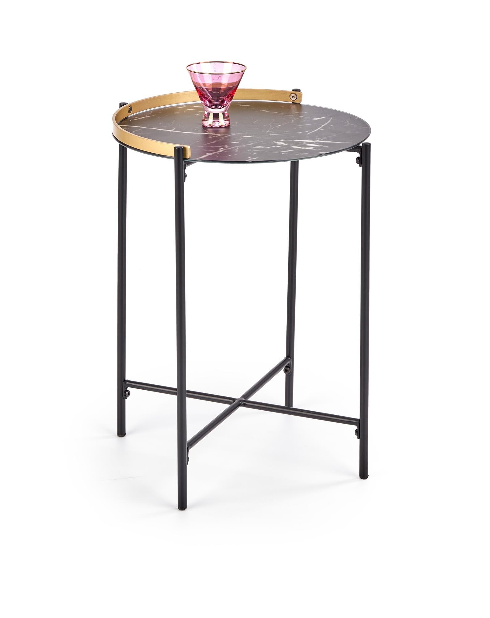 Masa de cafea din sticla si metal Linux Negru / Auriu, Ø45xH60 cm poza