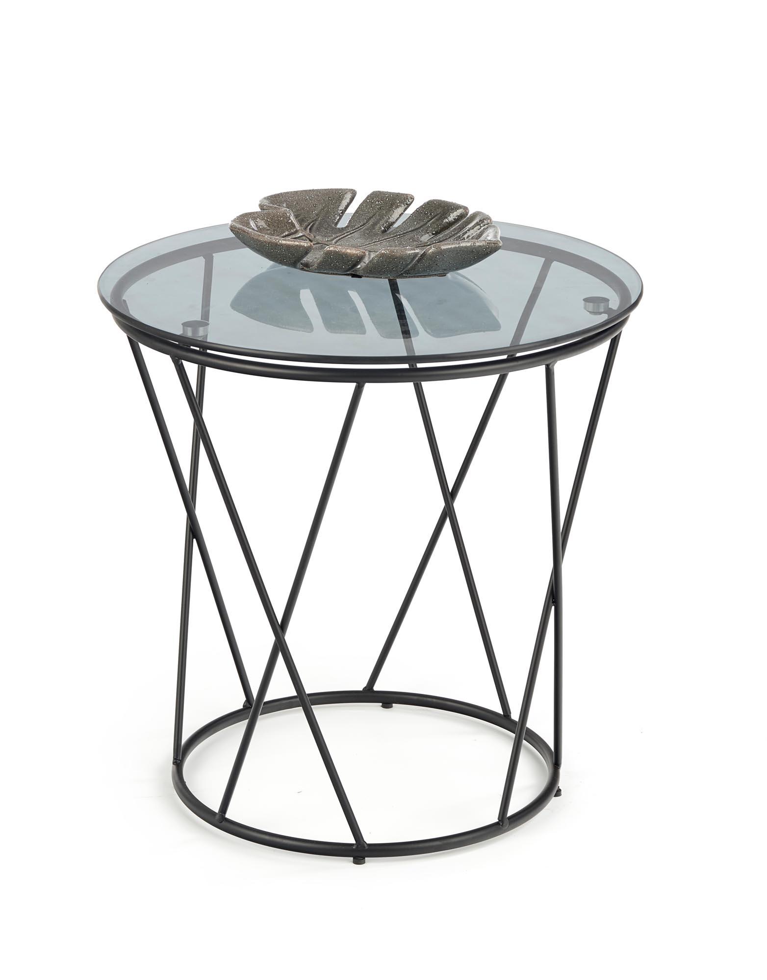 Masa de cafea din sticla si metal Manila Negru, Ø50xH50 cm