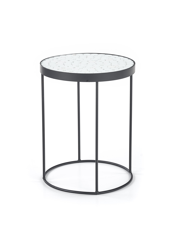 Masa de cafea din sticla si metal Naturo 2 White / Black  O47xH61 cm