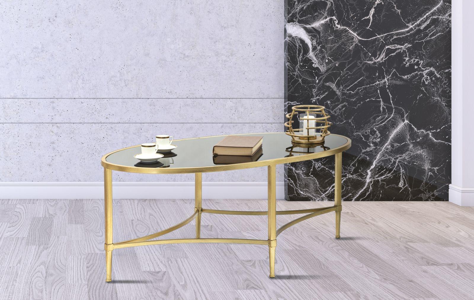 Masa De Cafea Din Sticla Si Metal Royal Negru / Auriu, L110xl60xh45 Cm