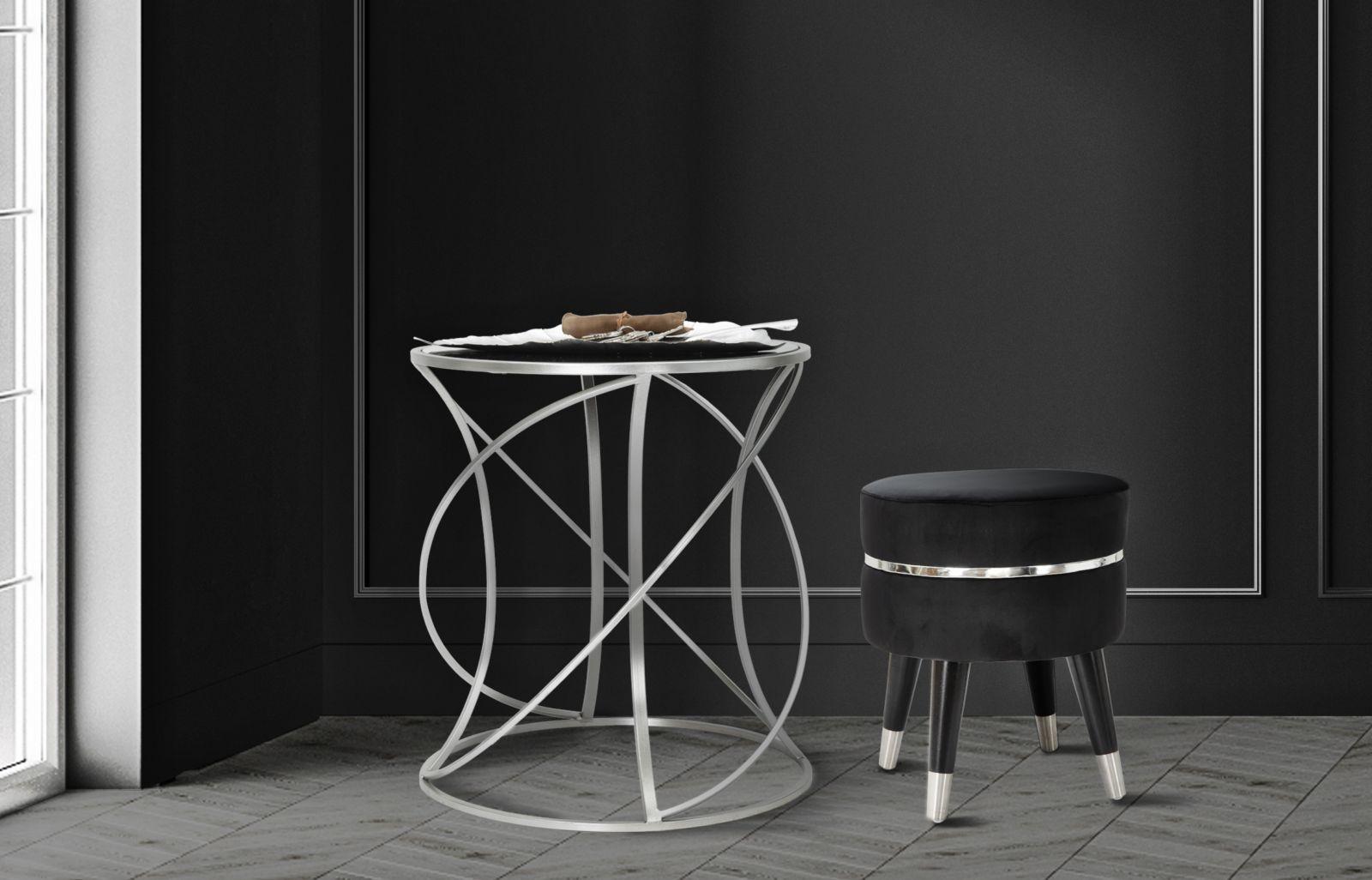 Masa de cafea din sticla si metal Saturn Small Argintiu, Ø50xH55 cm