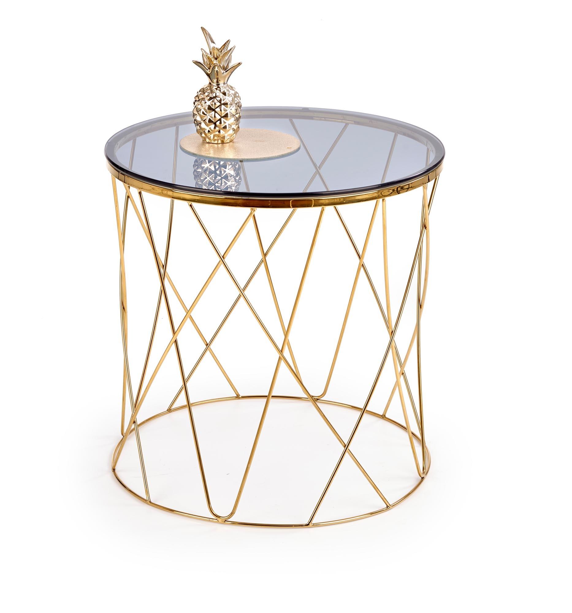 Masa de cafea din sticla si metal Selena Auriu, Ø55xH55 cm somproduct.ro