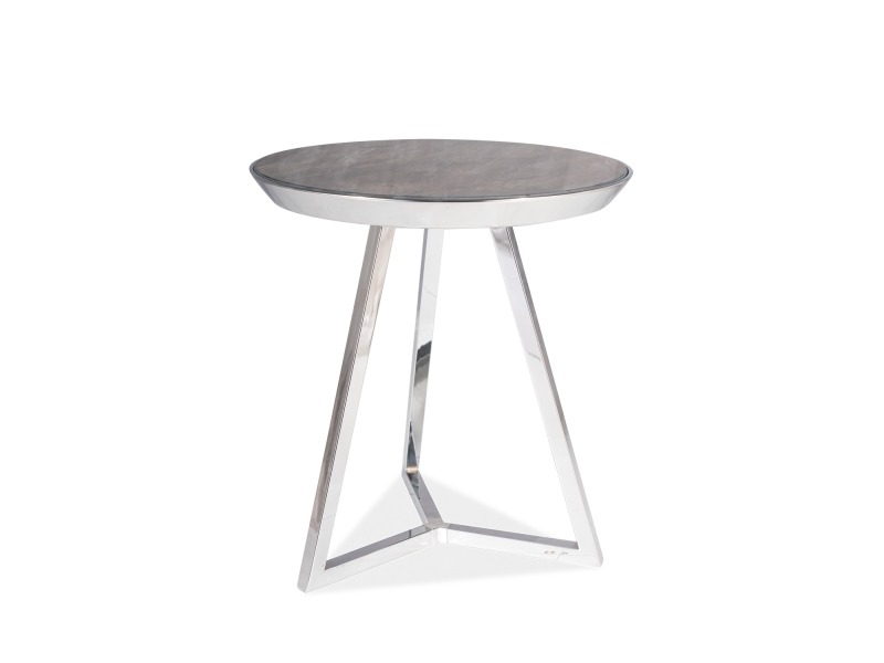 Masa de cafea din sticla si metal Temida C Maro / Crom, Ø42xH46 cm imagine
