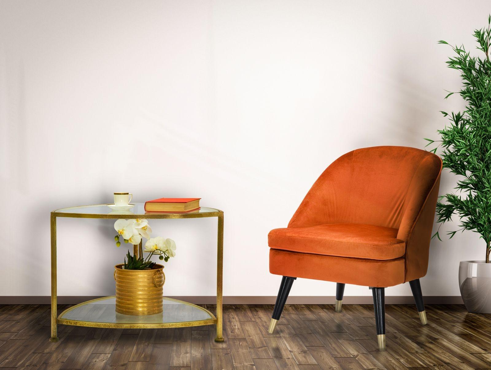 Masa de cafea din sticla si metal Triangle Auriu, L60xl59xH45 cm