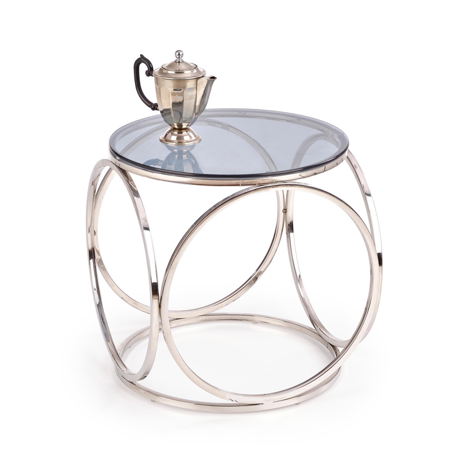 Masa de cafea din sticla si metal Venus S Crom, Ø50xH55 cm