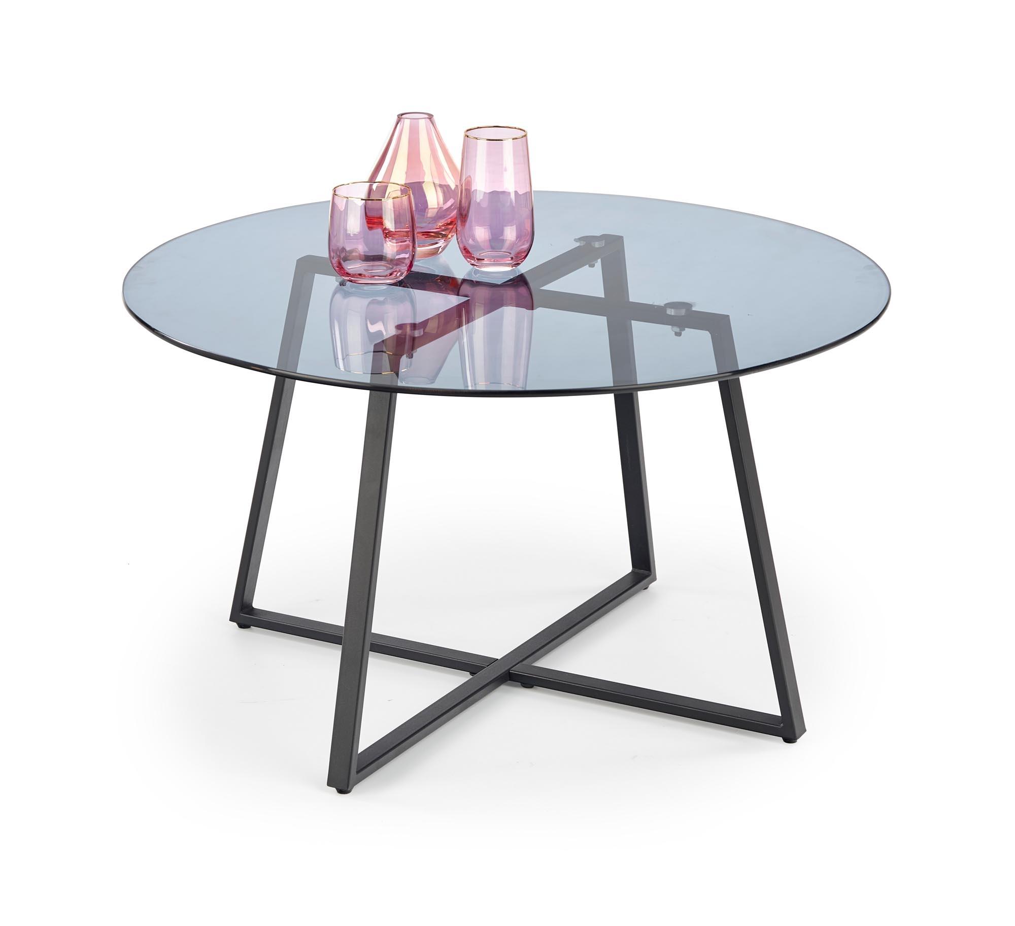 Masa de cafea din sticla si metal Zelda Negru, Ø80xH45 cm imagine