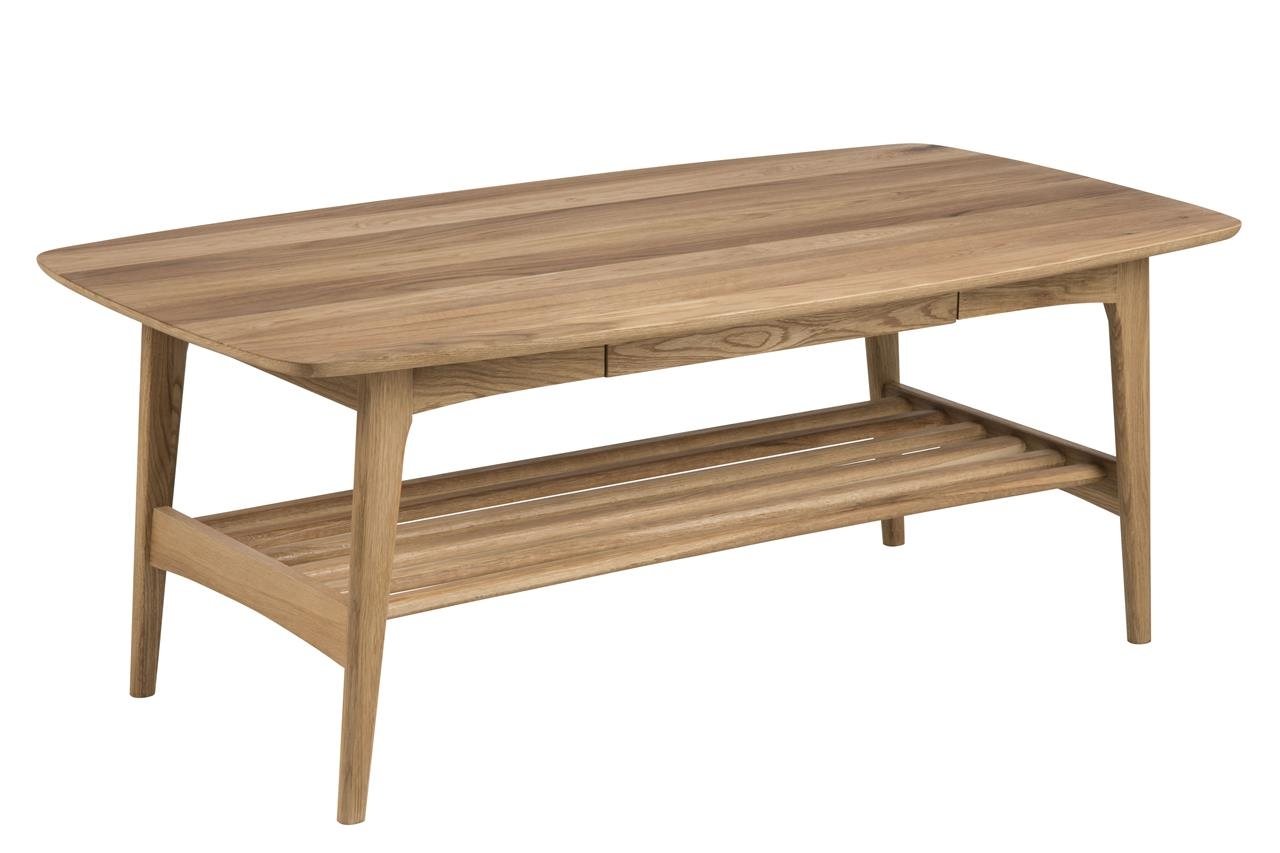 Masa de cafea lemn si furnir de stejar, cu 1 sertar Emma Stejar, L130xl70xH51 cm