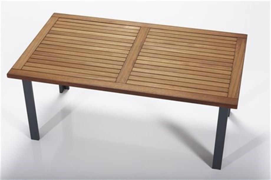 Masa de cafea pentru gradina / terasa, din aluminiu si lemn Assento Outdoor Maro / Antracit, L110xl65xH40 cm