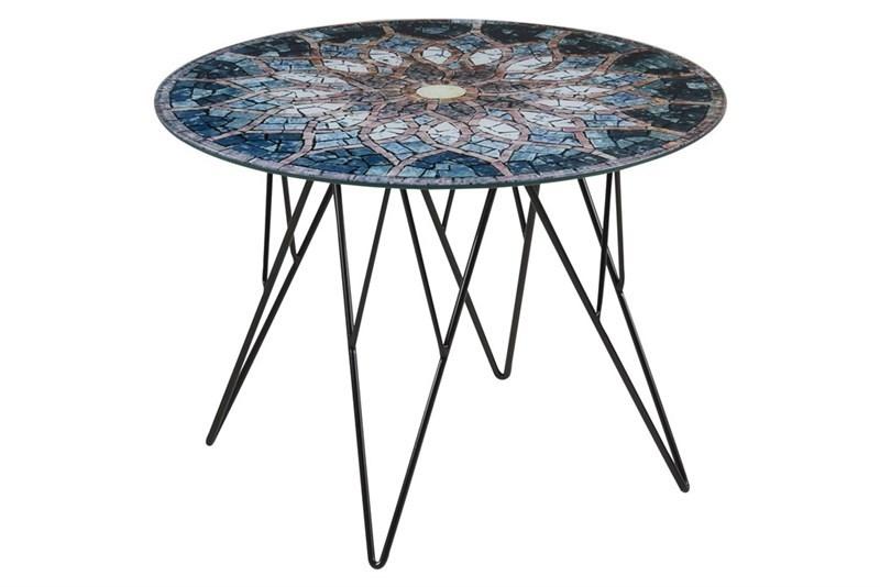 Masa de cafea din metal si sticla Prunus Multicolour O55xH40 cm