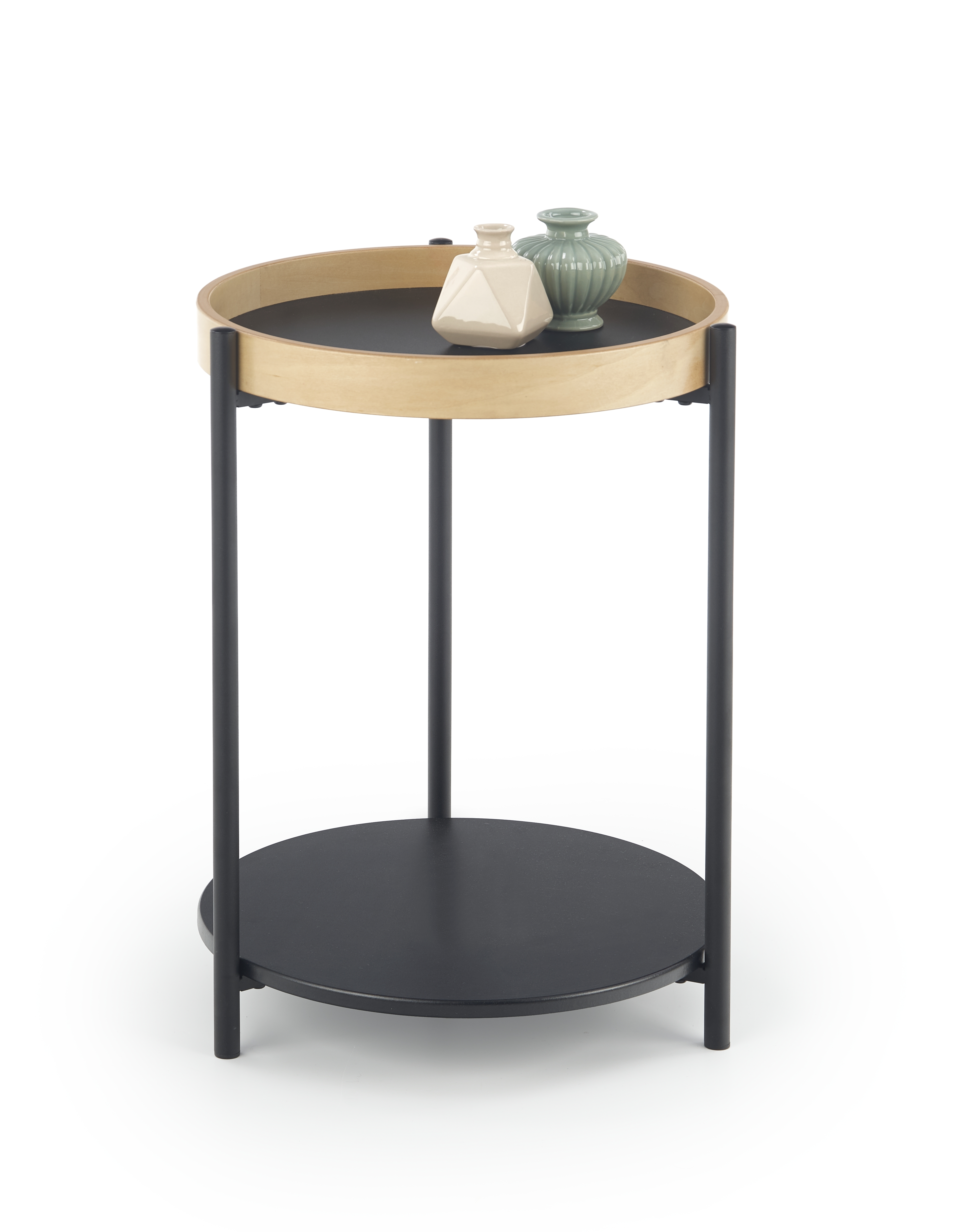 Masa de cafea din pal si metal Rolo Stejar / Negru, Ø44xH55 cm