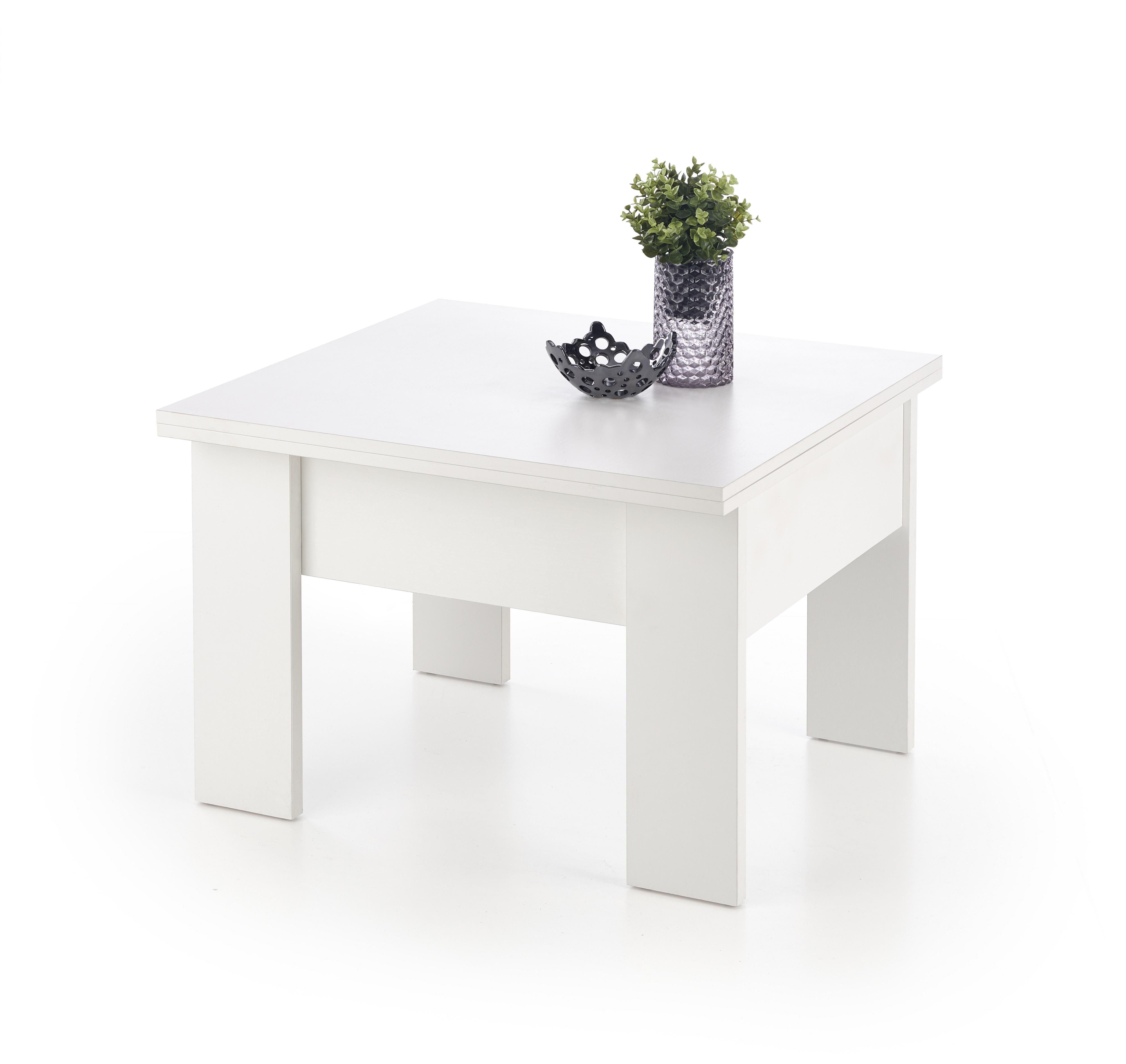 Masa de cafea Serafin White L80-160xl80xh53-79 cm