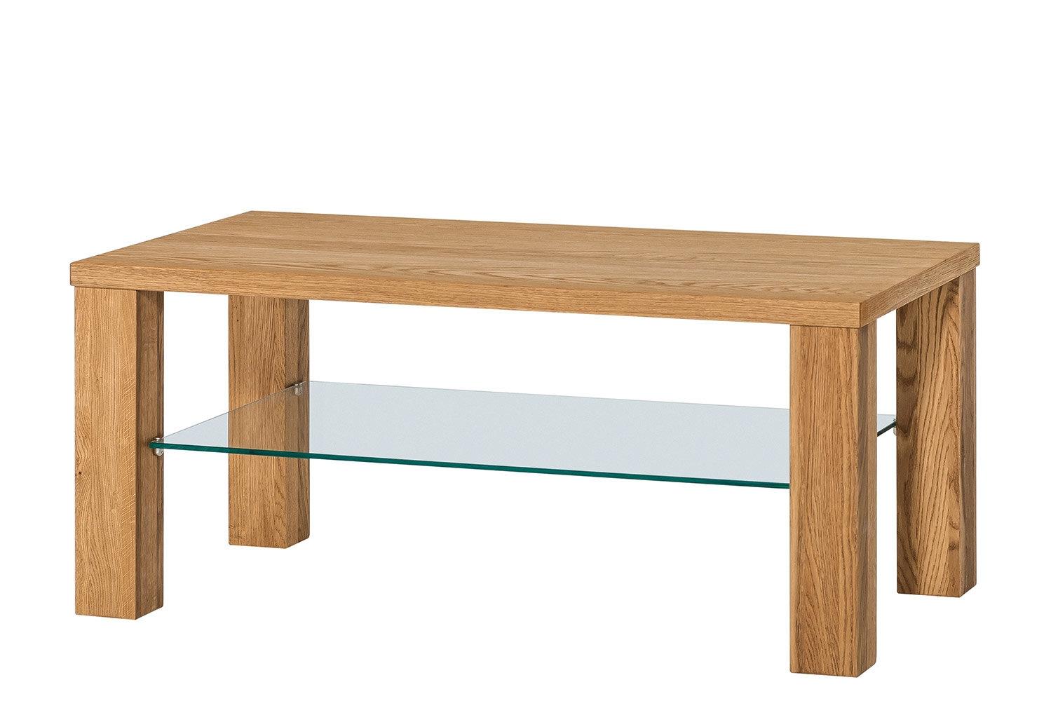 Masa de cafea, din lemn de stejar si sticla Velle 41 Oak, L110xl60xH49 cm imagine