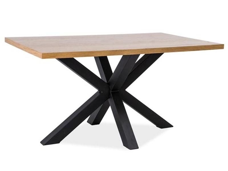 Masa din furnir si metal Cross Stejar / Negru, L150xl90xH75,5 cm poza