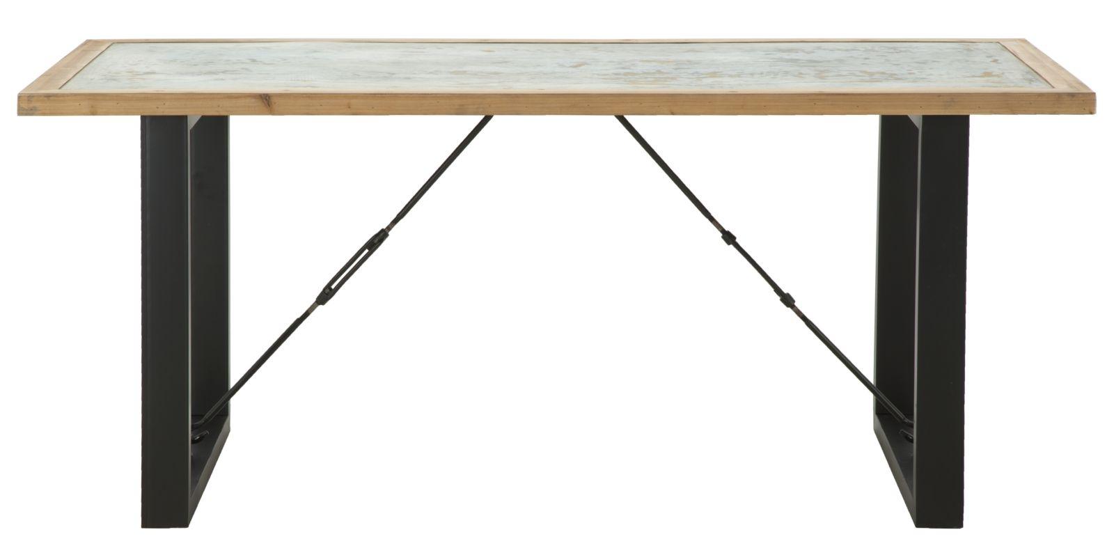Masa din lemn de brad si metal Berlin, L180xl80xh77,5 cm