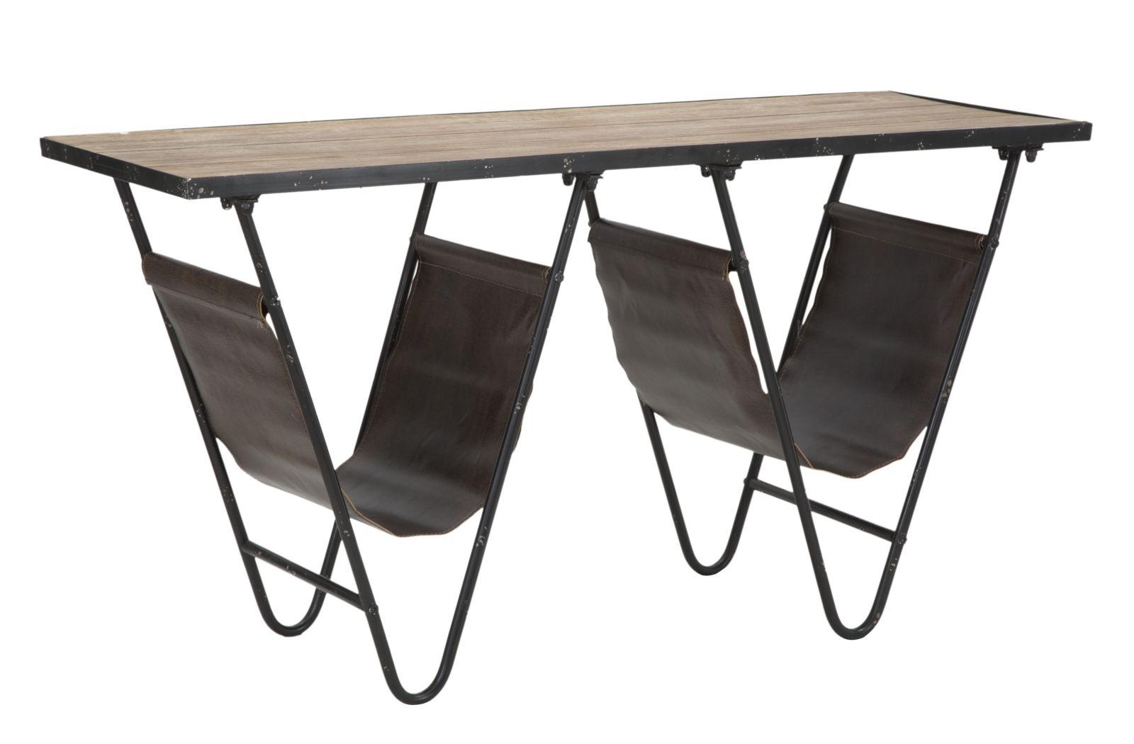 Masa din lemn de brad si metal, cu suport reviste Simply V Natural / Negru, L120xl43xH62,5 cm din categoria Mese