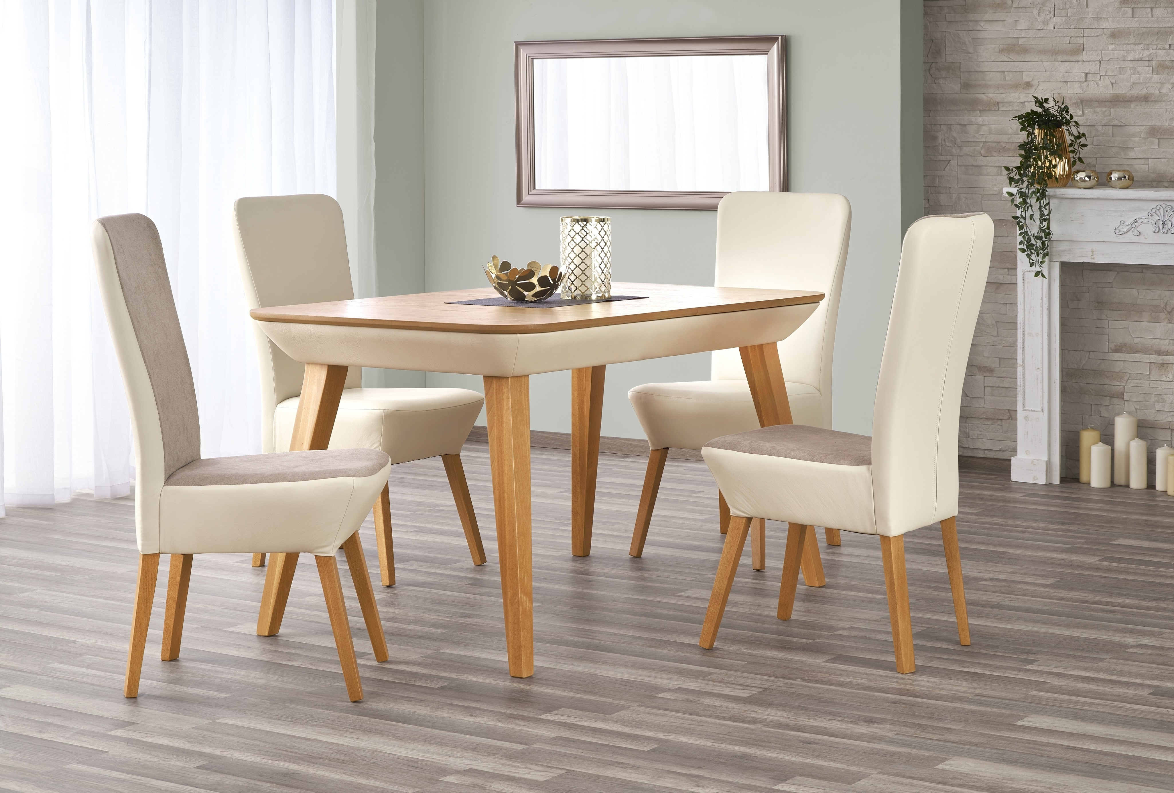 Set masa extensibila din lemn de fag si MDF Orchid Oak + 2 scaune Orchid II + 2 scaune Orchid Light Beige, L140-190xl85xH76 cm